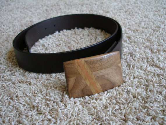 Hand Crafted Natural Walnut Wood Belt Buckle with Diagonal White Oak and Mahogany Inlays Great Unique Gift Idea