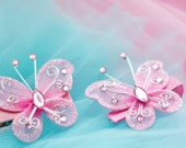 baby pink butterfly hair bow clips...hairbows for toddlers, baby, or big girl, pink, yellow, turquoise, silver, red, fucshia, lime