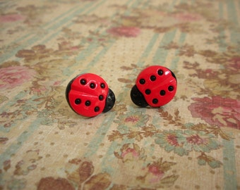Red Laybugs Earrings,  Red Ladybugs, Red Black Ladybugs Buttons Earrings