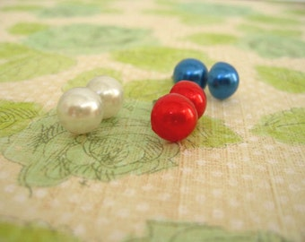 Resin Half Glass Earrings, Half Round Mix Post Earrings, Red, Blue, White Studs