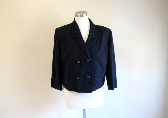 Boxy Fit Blazer - Navy Blue Jacket - Cropped Blazer - Double Breasted - Vintage Daytons
