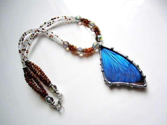 Blue Butterfly Jewelry: Blue Butterfly Glass Beaded Necklace Real Butterfly