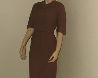 Vintage 50s Carl Naftal Cocoa Brown Wiggle Dress Large Cowl Neck