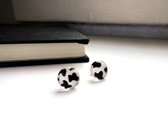 Cow earrings - studs, post jewelry - black, white spots - faux farm rustic country animal print FREE SHIPPING stocking stuffer gift for her