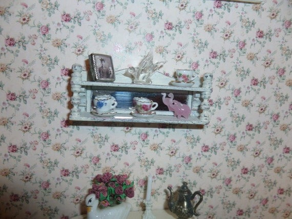 Shabby Chic Cottage Shelf with Mirror for your Dollhouse