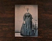 Deer in Dress Art, Mixed Media, Collage Art, Civil War Dress, Animal in Clothes, 5x7 Print, Anthropomorphic Art