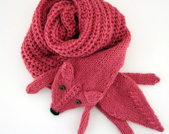 Hand knit long fox scarf in strawberry red with polymer clay buttons