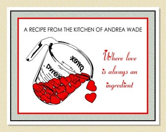 Cooking With Love - Personalized Recipe / Note Cards (10 Folded)