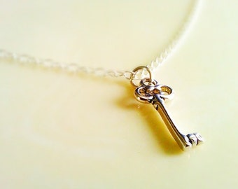 Key Necklace, Ready to Ship, Sterling Silver Chain Skeleton Key Pendant Antique Finish by SimplySleek