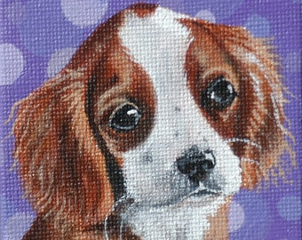 Cavalier King Charles Spaniel Puppy Miniature Painting with Easel