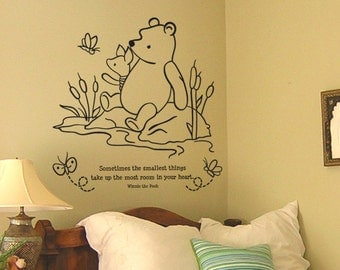 Classic Winnie the Pooh and Piglet Sometimes the smallest thing baby quote vinyl wall decal