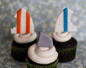 Fondant Surfboard and Shark Fin Toppers for Decorating Cupcakes