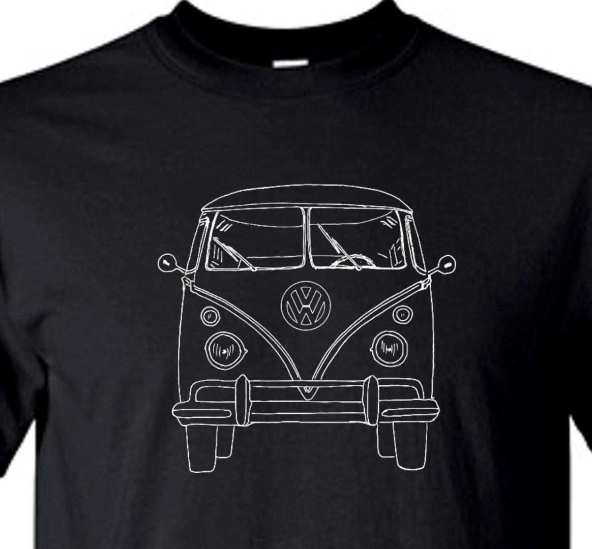 VOLKSWAGEN VW Bus Front View Vintage Retro Black Tee Shirt
