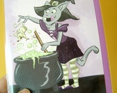Blank Cartoon Witch Cat Greeting Card Notecard - Wiccan Pagan Bast Purple - 5 X 7