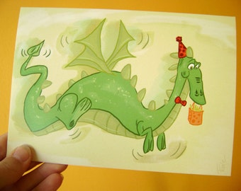 Dragon Blank Greeting Card Cartoon Game of thrones Fathers Day Fantasy Boy Girl Teenager party bday Birthday Card  5x7