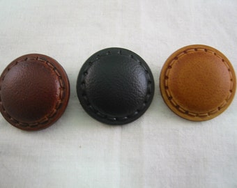 "Leather Look 1 1/8"" (28mm) Shank Button Lot of 6 - Pick color"