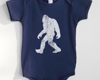 Bigfoot Baby Outfit - American Apparel Navy Baby Bodysuit - Available in 3-6MO, 6-12MO and 12-18MO