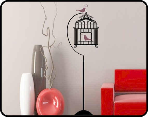 BIRD CAGE Wall Decal and Stand with Song Birds - Interior vinyl wall art birdhouse decor