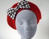 Red Hat- Red Beret Hat with Black-White Dogtooth Bow