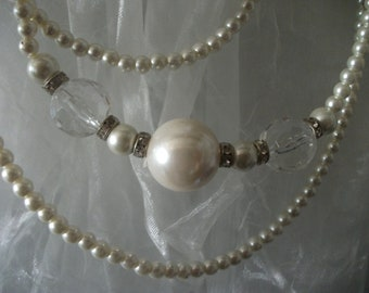 sale- vintage PEARL and diamante NECKLACE, asymmetrical
