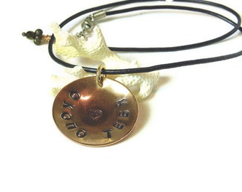 Custom Stamped Cyrillic Pendant in Copper- Made to Order CS105