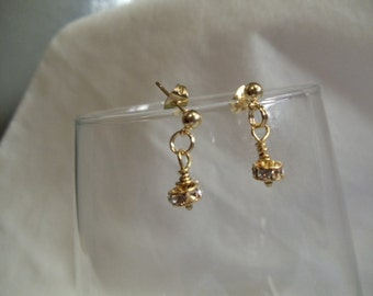 Gold Crystal Earrings on Gold Posts, earrings, dangle, gold, crystal