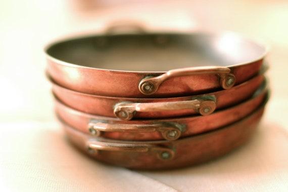 Vintage Individual Serving Copper Pans, Set of 4
