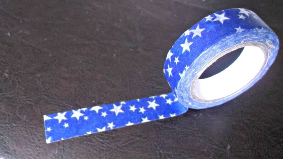 Stars on blue washi tape LARGE roll. Bulk available