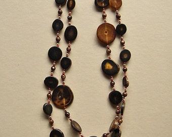 Vintage Variegated Horn Medallion Necklace