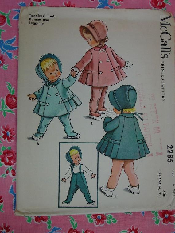 Vintage Pattern 1958 McCall's No.2285 Toddler or Doll Coat,Leggings,Bonnet Size 6 Mo. Uncut