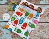 Owl Reusable Snack Bag -sandwich pouch- Party favor loot bags
