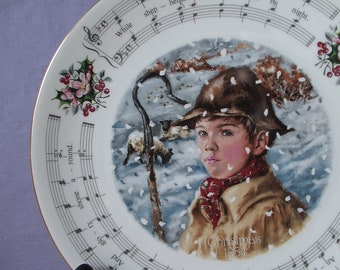 Vintage Royal Doulton Christmas plate, While Shepherds Watched, 1983, English Christmas decor, christmas carol collectible decorative plate