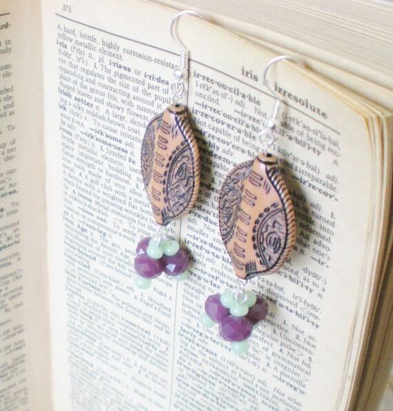 Burnt Umber Batik Bead Earrings Mint Plum Brown