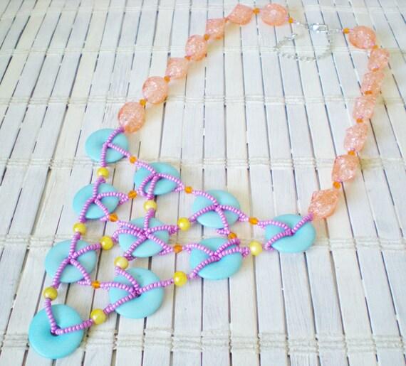 Ice Cream Colors Bib Necklace, Geometric Fashion Jewelry