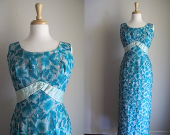 50s Formal Gown / 1950s Floral Evening Gown with Train / 50s Party Dress