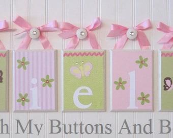 Hanging Name Letters . Nursery Decor . Baby Name Blocks . Nursery Wall Decor . Flowers Butterflies . Ariella