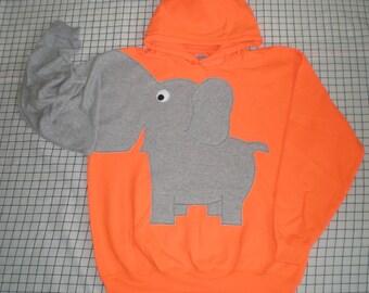 Elephant HOODIE ,hooded sweatshirt, elephant shirt, trunk sleeve, Flourescent Orange, Unisex  XLarge