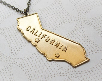 California Necklace - Vintage Inspired Jewelry - State Necklace - California State - Modern Brass Jewelry