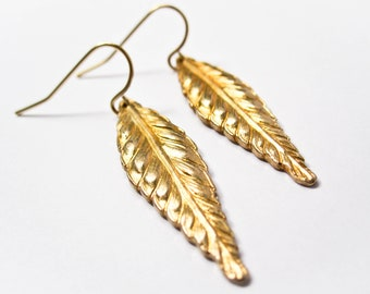 Leaf Earrings - Art Nouveau - Vintage Brass - Art Deco Earrings - Modern Brass Jewelry - Drop Earrings - Leaf Jewelry