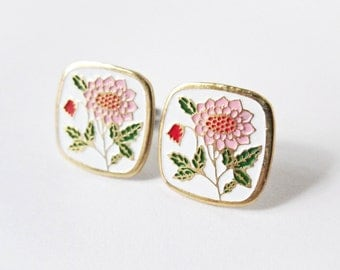 Flower Enamel Earrings - Pink Dahlia - Surgical Steel Earrings - Floral Earrings - Shabby Chic - Square Earrings - Floral Accessories