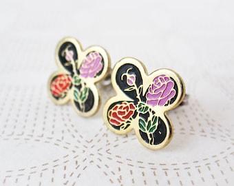Enamel Earrings - Red & Pink Roses - Clover - Flower Earrings - Surgical Steel Earrings - Stud Earrings - Floral Accessories