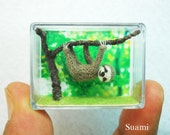 Miniature Grey Sloth  - Micro Crochet Dollhouse Amigurumi Animals - Made To Order