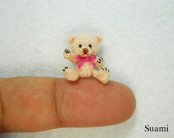 Miniature Creme Mohair Bear - Micro Crocheted  Bears 0.8 Inch Scale with Pink Bow - Made To Order
