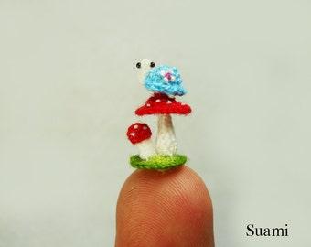 Micro Blue Turtle Red Mushroom - Tiny Crochet Miniature Tortoise - Made To Order