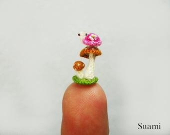 Micro Pink Turtle Brown Mushroom - Tiny Crochet Miniature Tortoise - Made To Order