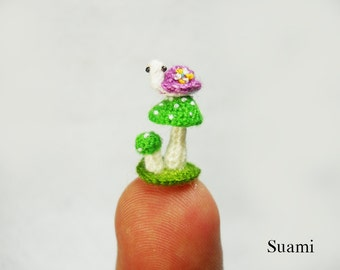 Micro Purple Turtle Green Mushroom - Tiny Amigurumi Miniature Tortoise - Made To Order
