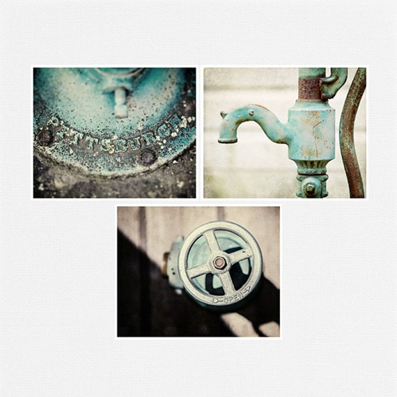 Teal bathroom decor set of 3 rustic fine art by for Teal bathroom accessories sets