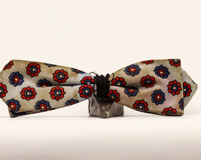 Red Blue and Grey Bow Tie (missing clip) Vintage Bowtie Dr. Who Costume | Doctor Who | Vintage Mens Accessories 3575 7E