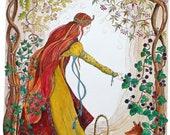Autumn's bounty -  medieval maiden - A3 print