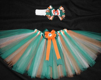 Miami Dolphins inspired tutu set custom made your choice of size up to a 4t